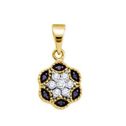 14K Yellow-gold 0.20CTW DIAMOND FLOWER PENDANT