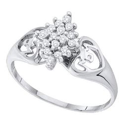 14KT White Gold 0.15CTW DIAMOND CLUSTER RING