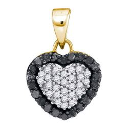 14K Yellow-gold 0.33CTW BLACK DIAMOND MICRO-PAVE PENDAN