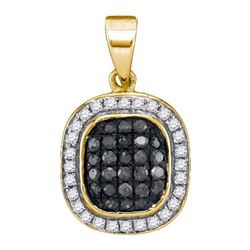 14K Yellow-gold 0.25CTW BLACK DIAMOND MICRO-PAVE PENDAN