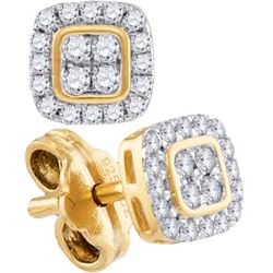 10K Yellow-gold 0.19CTW-Diamond FASHION EARRING