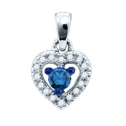 10K White-gold 0.21CT BLUE DIAMOND FASHION PENDANT