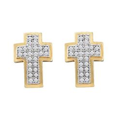 10KT Yellow Gold 0.15CTW DIAMOND CROSS EARRINGS