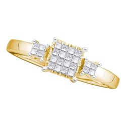 10K White-gold 0.04CTW ROUND DIAMOND LADIES CLUSTER FAS