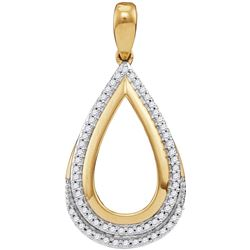 10kt Yellow Gold Womens Round Diamond Teardrop Frame Cu