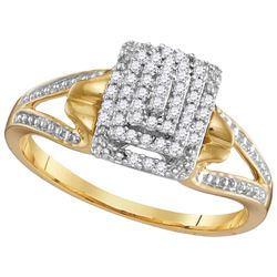 10kt Yellow Gold Womens Round Natural Diamond Cluster S