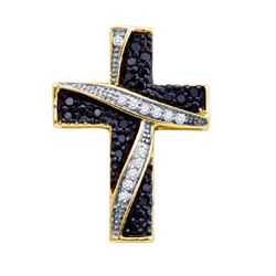 10KT Yellow Gold 0.24CTW BLACK DIAMOND CROSS PENDANT