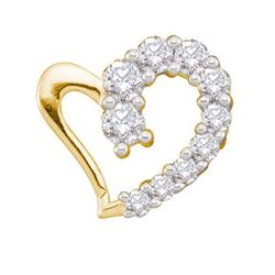 14KT Yellow Gold 0.18CTW DIAMOND HEART LADIES PENDANT
