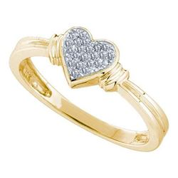 10K Yellow-gold 0.08CT ROUND DIAMOND MICRO PAVE HEART R