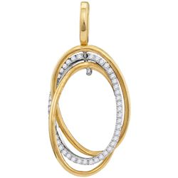 10kt Yellow Gold Womens Round Diamond Triple Joined Ova