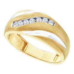 14KT Yellow Gold 0.25CTW ROUND DIAMOND MENS FASHION BA