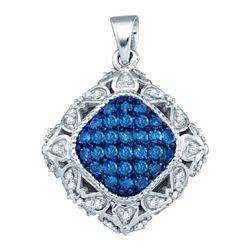 10KT White Gold 0.50CTW BLUE DIAMOND FASHION PENDANT