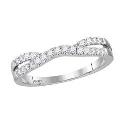 14kt White Gold Womens Round Diamond Ring Contour Enhan