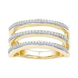 10kt Yellow Gold Womens Round Natural Diamond Striped F