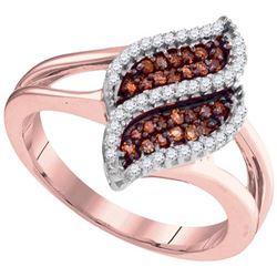 10KT Rose Gold 0.30CTW COGNAC DIAMOND FASHION RING