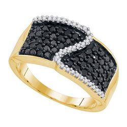 10K Yellow-gold 0.75CTW BLACK DIAMOND MICRO-PAVE RING