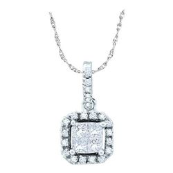 14KT White Gold 0.25CTW DIAMOND LADIES INVISIBLE PENDAN
