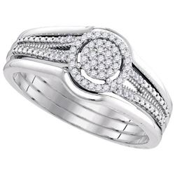 10KT White Gold 0.15CTW-Diamond MICRO-PAVE BRIDAL SET
