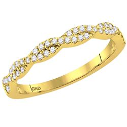 14kt Yellow Gold Womens Round Diamond Woven Twist Stack