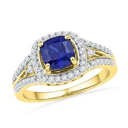 10kt Yellow Gold Womens Lab-Created Blue Sapphire Solit