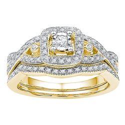 10kt Yellow Gold Womens Round Diamond Twist Bridal Wedd