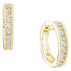 14KT Yellow Gold 0.26CTW DIAMOND LADIES MICRO PAVE HOOP