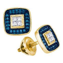 10K Yellow-gold 0.33CTW BLUE DIAMOND MICRO-PAVE EARRING