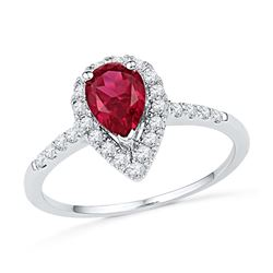 10kt White Gold Womens Pear Lab-Created Ruby Solitaire