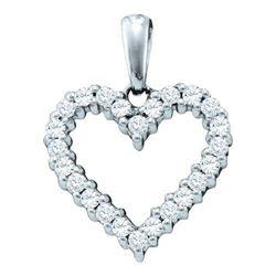 14KT White Gold 0.33CTW DIAMOND HEART PENDANT