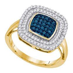 10K Yellow-gold 0.50CTW BLUE DIAMOND FASHION RING