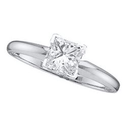 14KT White Gold 0.20CTW (EXCE) PRINCESS DIAMOND RING
