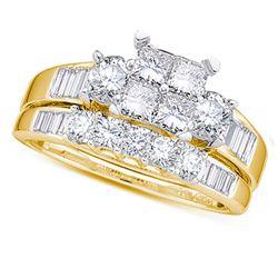10kt Yellow Gold Womens Princess Diamond Bridal Wedding