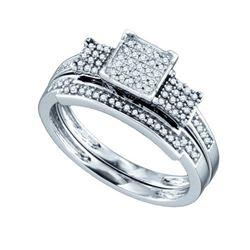 10KT White Gold 0.25CT DIAMOND MICRO PAVE BRIDAL SET