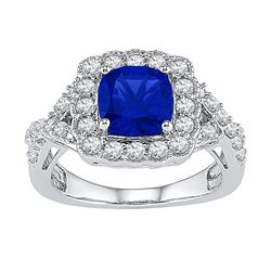 10kt White Gold Womens Princess Lab-Created Blue Sapphi