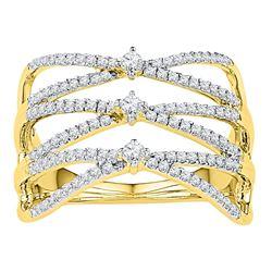 10kt Yellow Gold Womens Round Diamond Crisscross Crosso
