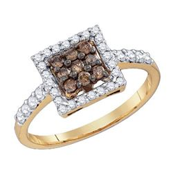 10KT Yellow Gold 0.51CTW COGNAC DIAMOND FASHION RING