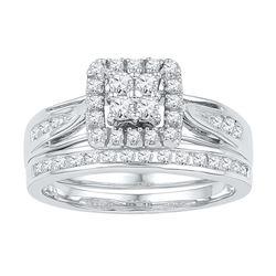 10kt White Gold Womens Diamond Square Cluster Bridal We