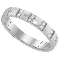 10KT White Gold 0.16CTW DIAMOND MACHINE-SET BAND