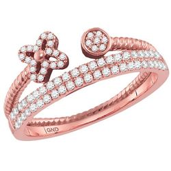 10kt Rose Gold Womens Round Diamond Flower Bisected Sta