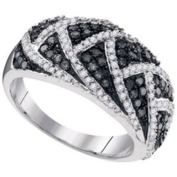 10KT White Gold 0.70CTW BLACK DIAMOND FASHION RING
