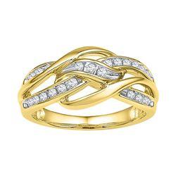 10kt Yellow Gold Womens Round Diamond Woven Knot Strand