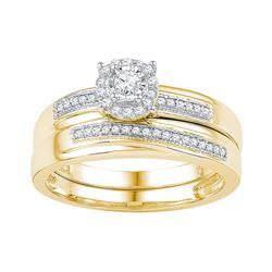 10k Yellow Gold Womens Natural Round Diamond Bridal Wed