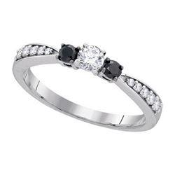 10KT White Gold 0.39CTW BLACK DIAMOND FASHION RING