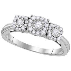 Womens 10K White Gold Fanook Diamond 3 Stone Wedding En
