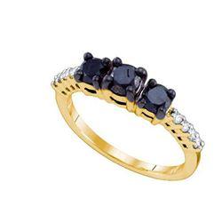 10K Yellow-gold 1.06CTW BLACK DIAMOND 3 STONE RING