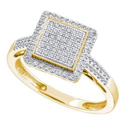 10K Yellow-gold 0.30CT DIAMOND SQUARE FASHION RING