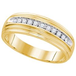 925 Sterling Silver Yellow 0.25CTW DIAMOND FASHION BAND