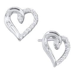 10KT White Gold 0.15CTW DIAMOND HEART EARRING