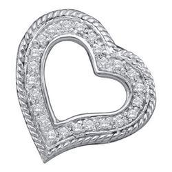 10KT White Gold 0.18CTW DIAMOND HEART PENDANT