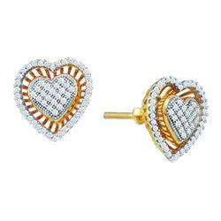 10KT Yellow Gold 0.30CTW DIAMOND MICRO PAVE HEART EARRI